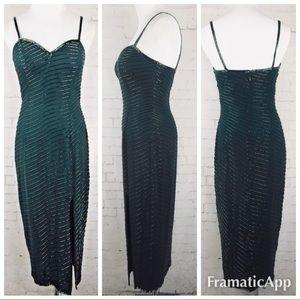 .new A.J.Bari 100% silk beaded gown teal slit 5917